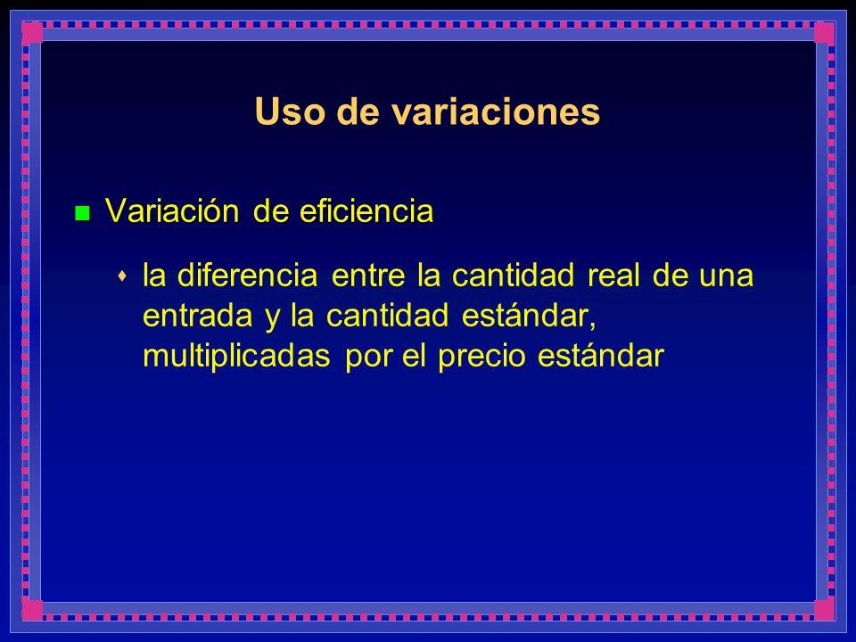 Uso de variaciones Variación de eficiencia Variación de eficiencia la diferencia entre la cantidad real de una entrada y la cantidad estándar, multipl