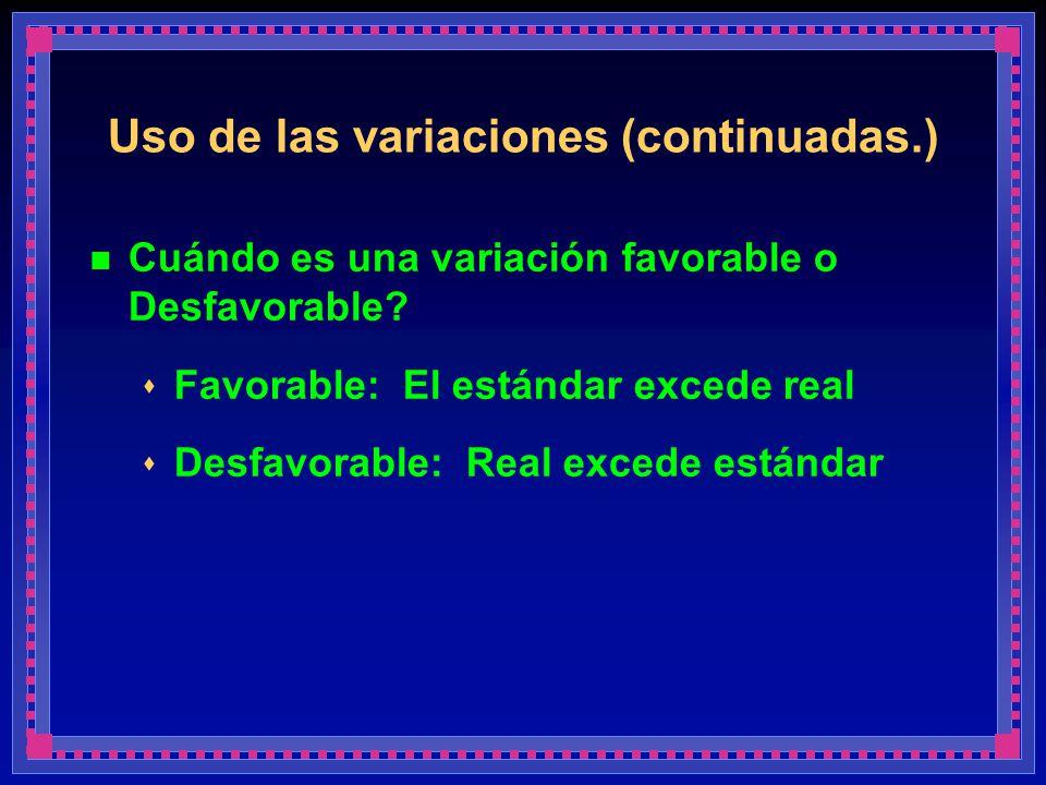 Uso de las variaciones (continuadas.) Cuándo es una variación favorable o Desfavorable? Favorable: El estándar excede real Desfavorable: Real excede e