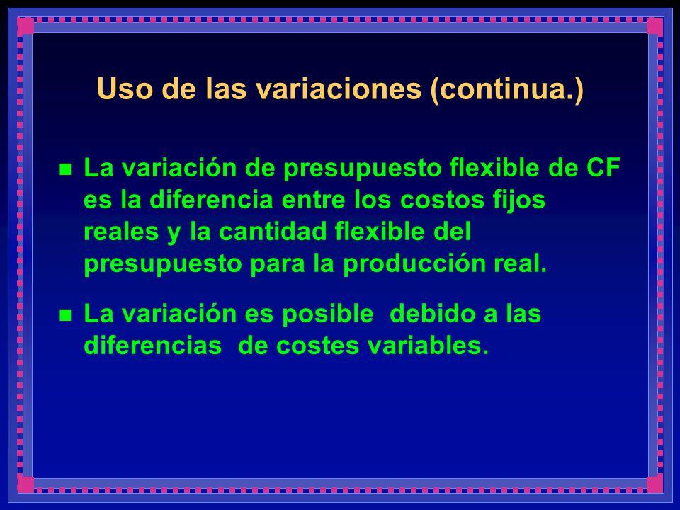 Uso de las variaciones (continua.) La variación de presupuesto flexible de CF es la diferencia entre los costos fijos reales y la cantidad flexible de