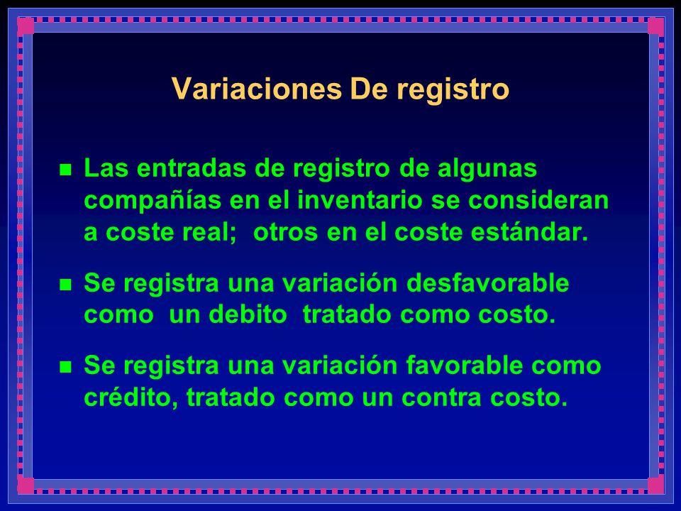 Variaciones De registro Las entradas de registro de algunas compañías en el inventario se consideran a coste real; otros en el coste estándar. Se regi