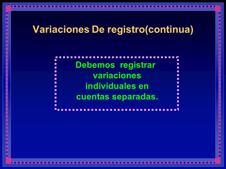Variaciones De registro(continua) Debemos registrar variaciones individuales en cuentas separadas.