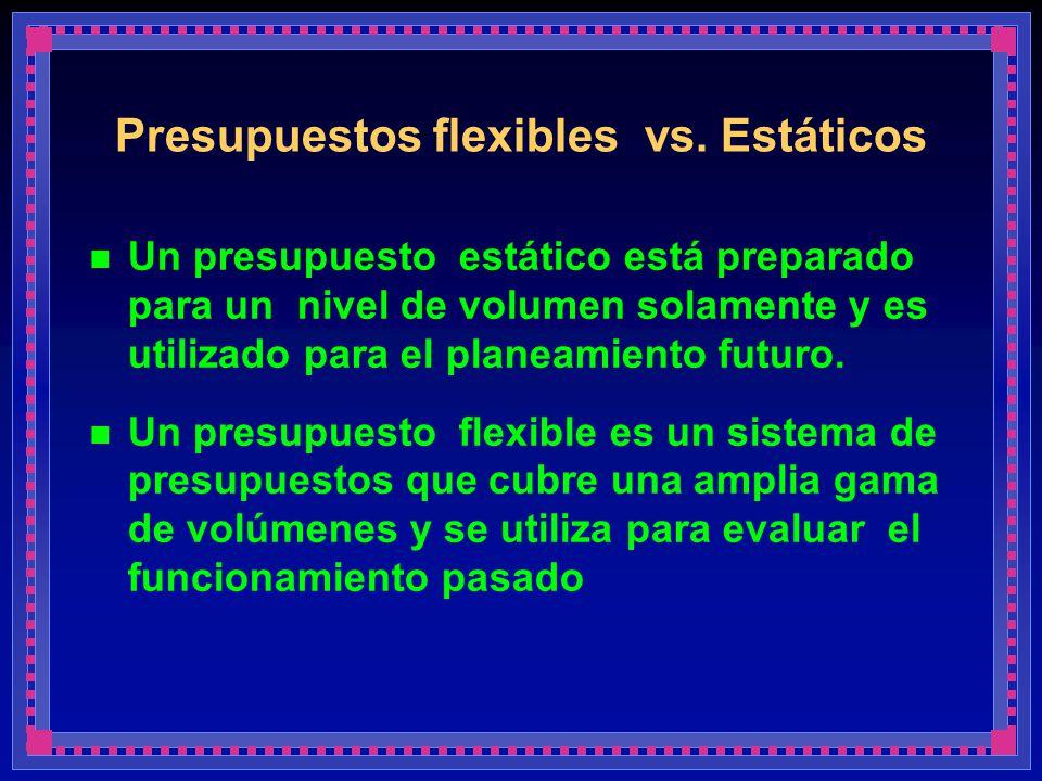 Presupuestos flexibles vs. Estáticos Un presupuesto estático está preparado para un nivel de volumen solamente y es utilizado para el planeamiento fut