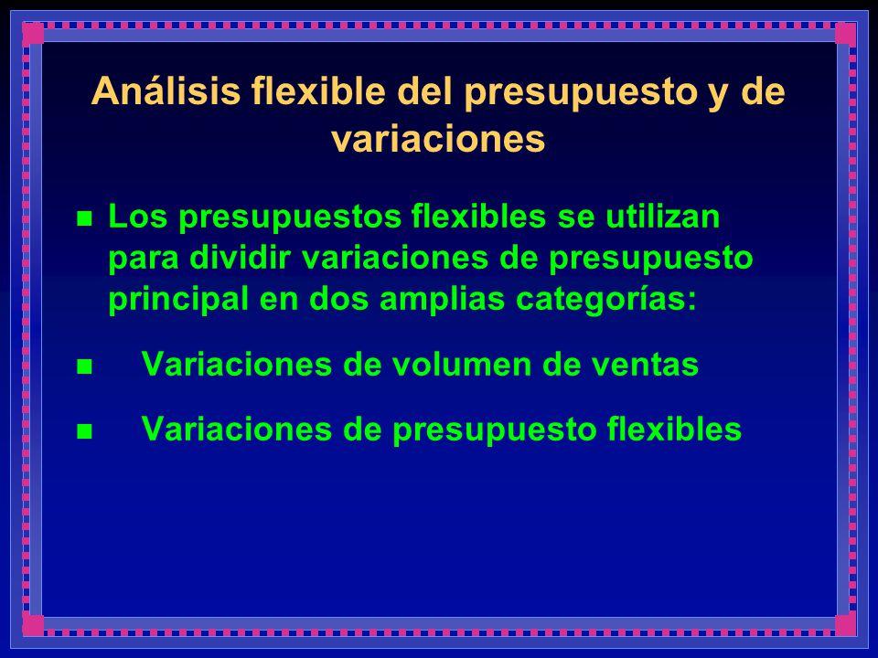 Análisis flexible del presupuesto y de variaciones Los presupuestos flexibles se utilizan para dividir variaciones de presupuesto principal en dos amp