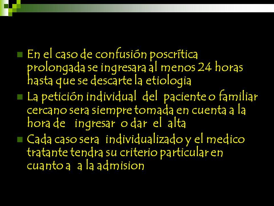 En el caso de confusión poscrítica prolongada se ingresara al menos 24 horas hasta que se descarte la etiologia La petición individual del paciente o