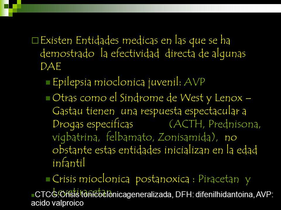 Existen Entidades medicas en las que se ha demostrado la efectividad directa de algunas DAE Epilepsia mioclonica juvenil: AVP Otras como el Sindrome d