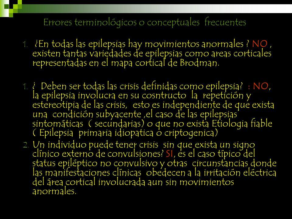 ¿En todas las epilepsias hay movimientos anormales ? NO, existen tantas variedades de epilepsias como areas corticales representadas en el mapa cortic