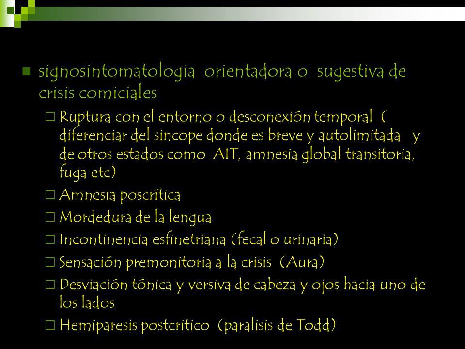 signosintomatologia orientadora o sugestiva de crisis comiciales Ruptura con el entorno o desconexión temporal ( diferenciar del sincope donde es brev