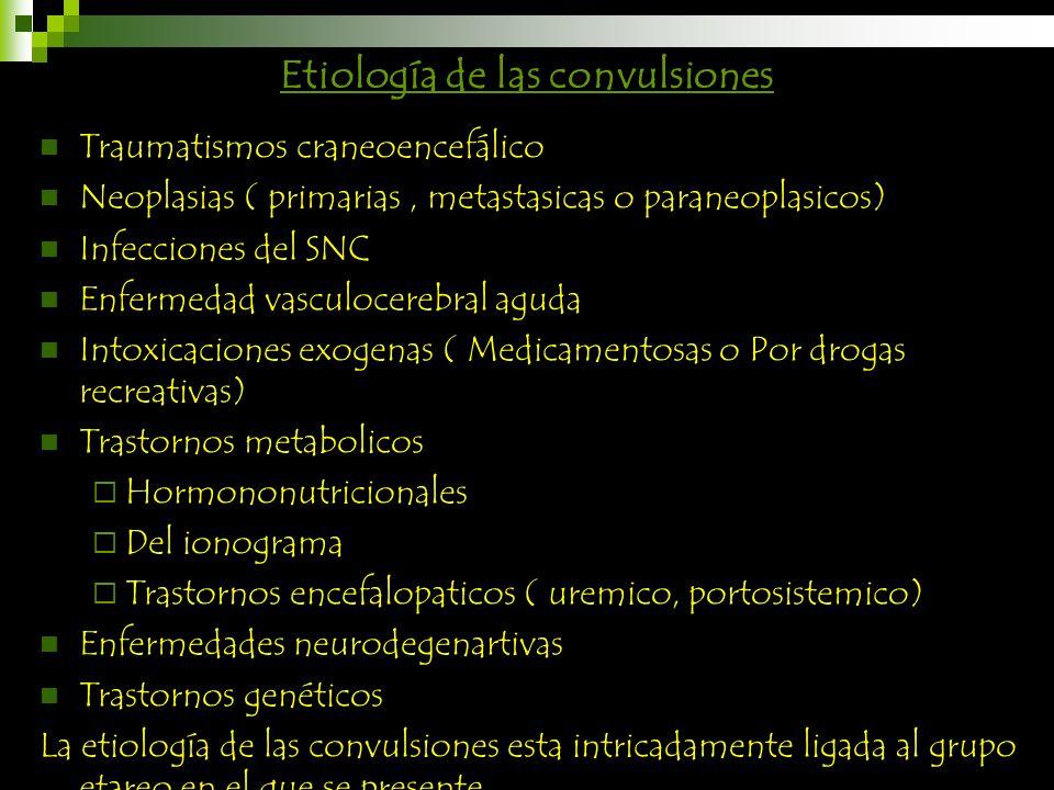 Etiología de las convulsiones Traumatismos craneoencefálico Neoplasias ( primarias, metastasicas o paraneoplasicos) Infecciones del SNC Enfermedad vas