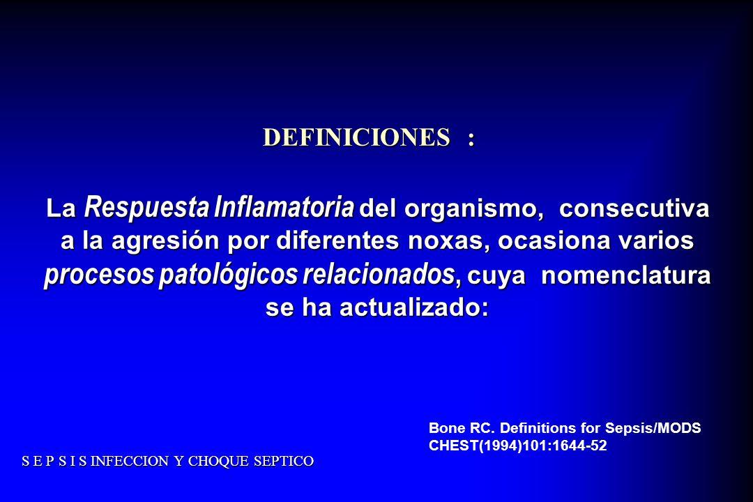 S E P S I S INFECCION Y CHOQUE SEPTICO DEFINICIONES : La Respuesta Inflamatoria del organismo, consecutiva a la agresión por diferentes noxas, ocasion