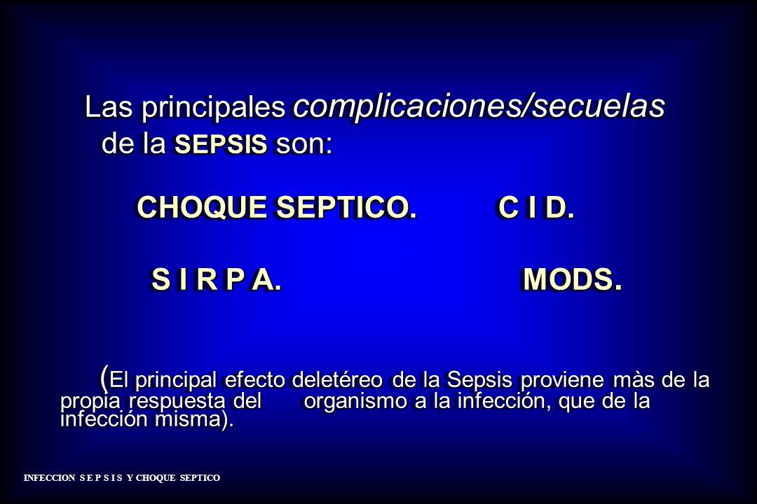Las principales complicaciones/secuelas Las principales complicaciones/secuelas de la SEPSIS son: de la SEPSIS son: CHOQUE SEPTICO. C I D. CHOQUE SEPT