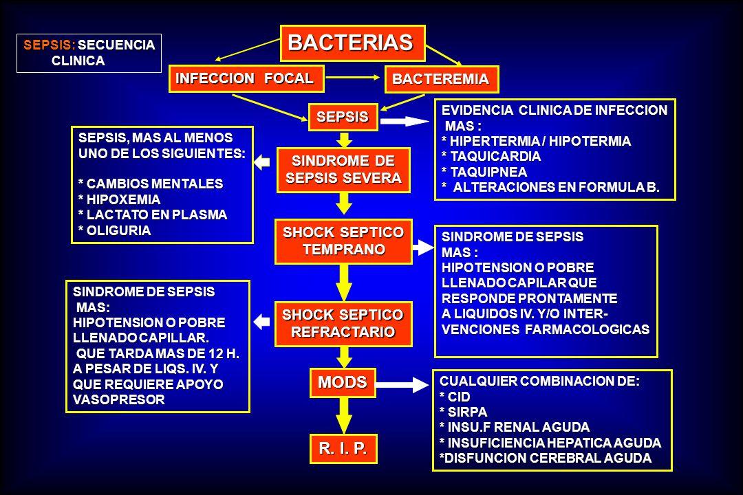 BACTERIAS INFECCION FOCAL BACTEREMIA SEPSIS SINDROME DE SEPSIS SEVERA SHOCK SEPTICO TEMPRANO SHOCK SEPTICO REFRACTARIO MODS R. I. P. SEPSIS, MAS AL ME
