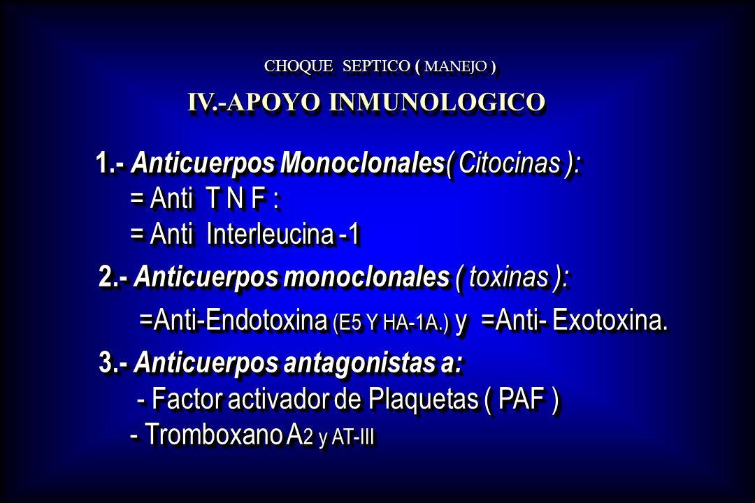 CHOQUE SEPTICO ( MANEJO ) 1.- Anticuerpos Monoclonales ( Citocinas ): = Anti T N F : = Anti Interleucina -1 1.- Anticuerpos Monoclonales ( Citocinas )