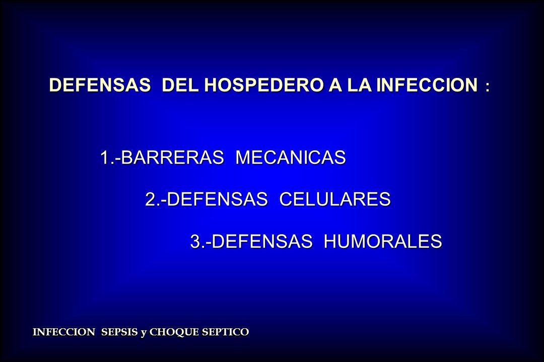 INFECCION SEPSIS y CHOQUE SEPTICO DEFENSAS DEL HOSPEDERO A LA INFECCION : DEFENSAS DEL HOSPEDERO A LA INFECCION : 1.-BARRERAS MECANICAS 1.-BARRERAS ME