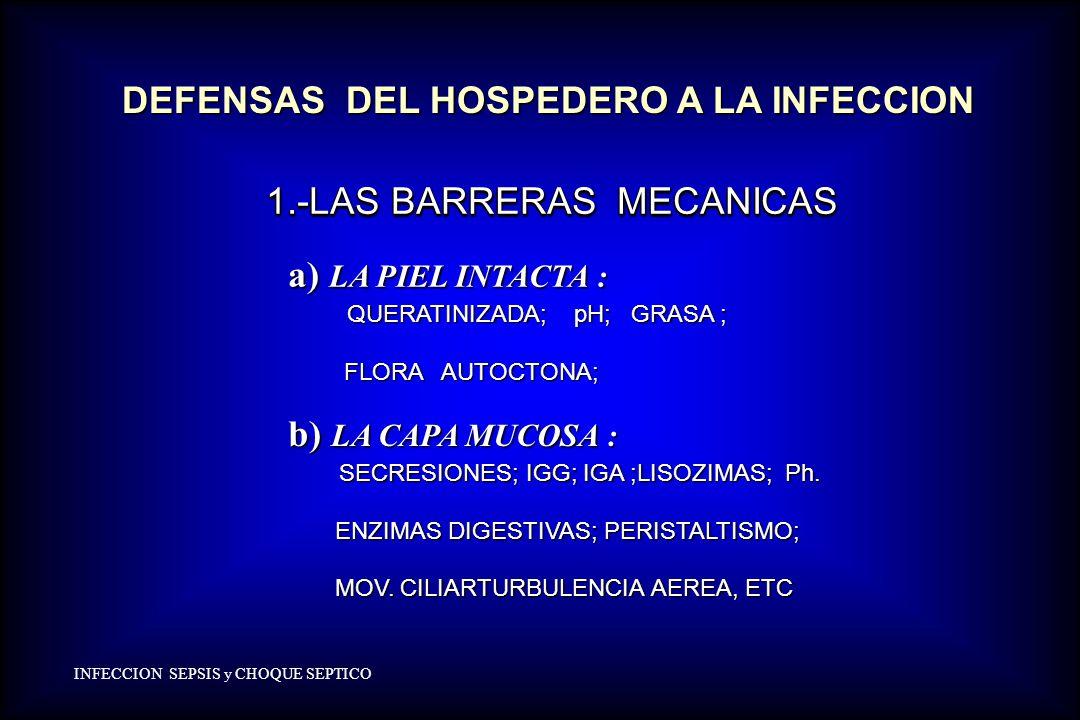 1.-LAS BARRERAS MECANICAS 1.-LAS BARRERAS MECANICAS a) LA PIEL INTACTA : a) LA PIEL INTACTA : QUERATINIZADA; pH; GRASA ; QUERATINIZADA; pH; GRASA ; FL