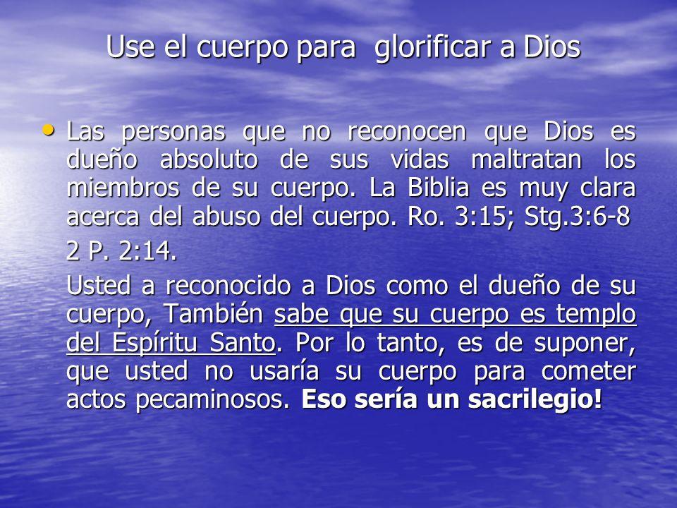 La condición del cristiano es diferente. Dios es su dueño, Cristo es su Señor y el Espíritu Santo vive en su cuerpo, 1 Co.3:16. Esto significa que el