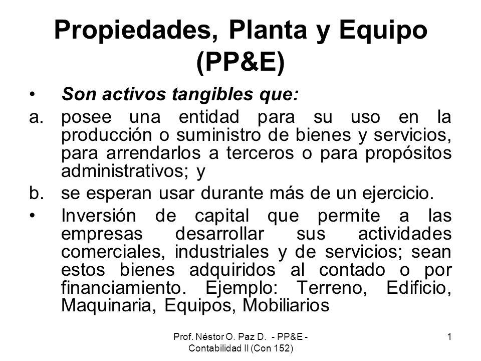 Prof. Néstor O. Paz D. - PP&E - Contabilidad II (Con 152) 1 Propiedades, Planta y Equipo (PP&E) Son activos tangibles que: a.posee una entidad para su
