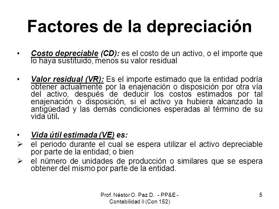 Prof. Néstor O. Paz D. - PP&E - Contabilidad II (Con 152) 5 Factores de la depreciación Costo depreciable (CD): es el costo de un activo, o el importe