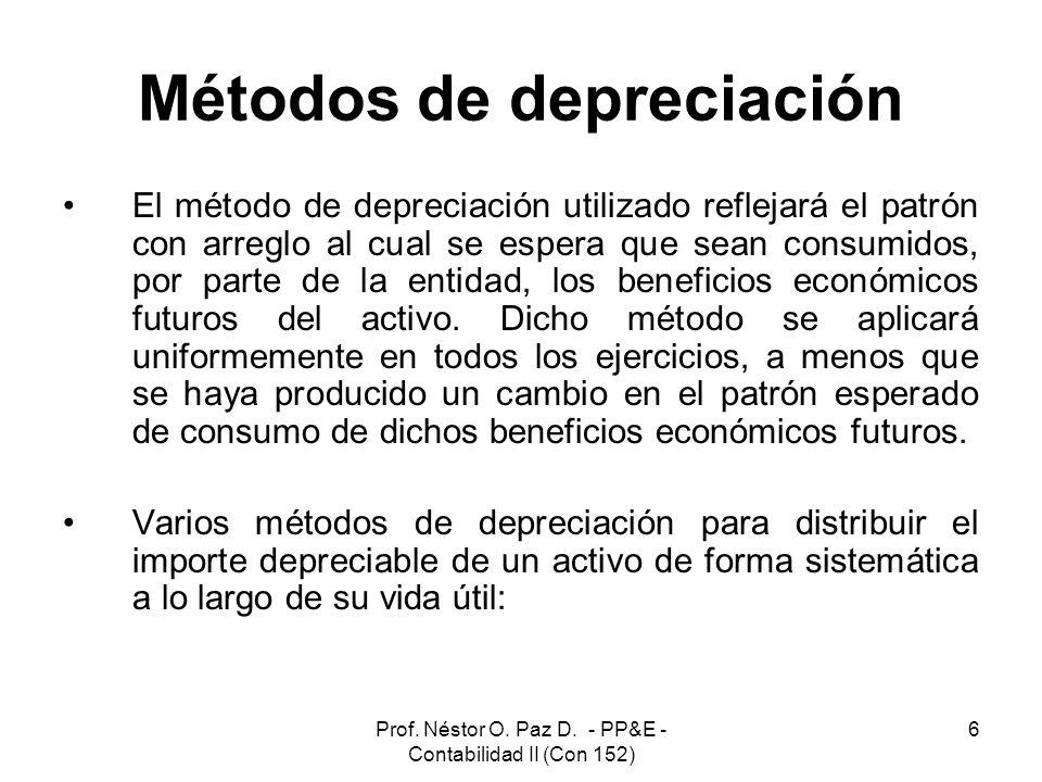 Prof. Néstor O. Paz D. - PP&E - Contabilidad II (Con 152) 6 Métodos de depreciación El método de depreciación utilizado reflejará el patrón con arregl