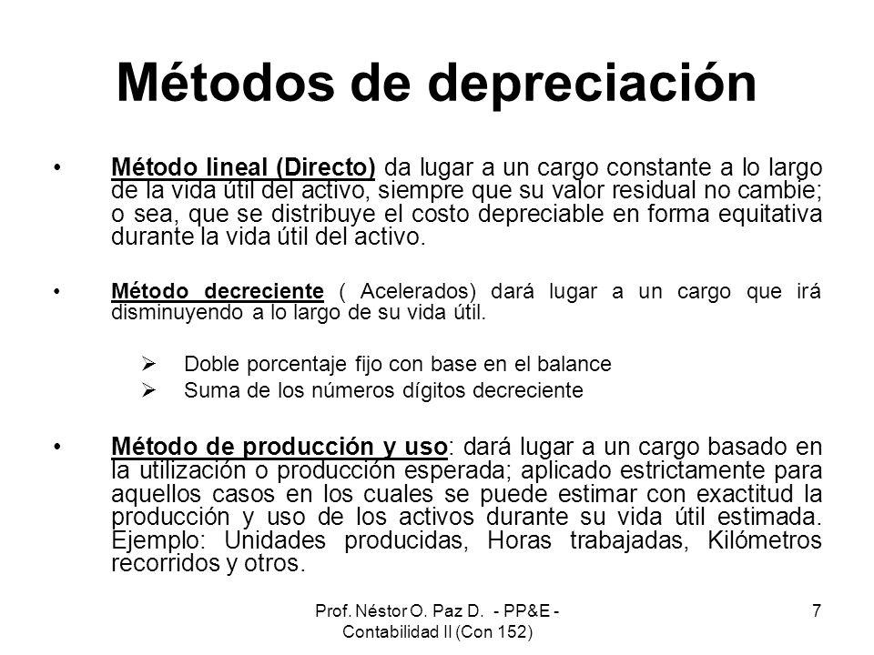 Prof. Néstor O. Paz D. - PP&E - Contabilidad II (Con 152) 7 Métodos de depreciación Método lineal (Directo) da lugar a un cargo constante a lo largo d