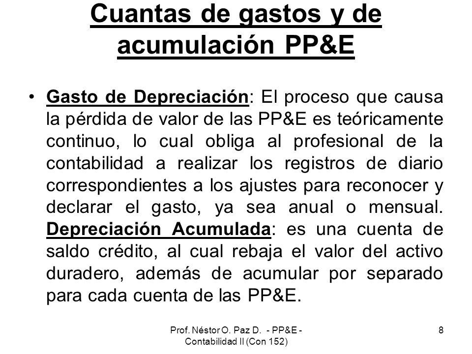 Prof. Néstor O. Paz D. - PP&E - Contabilidad II (Con 152) 8 Cuantas de gastos y de acumulación PP&E Gasto de Depreciación: El proceso que causa la pér