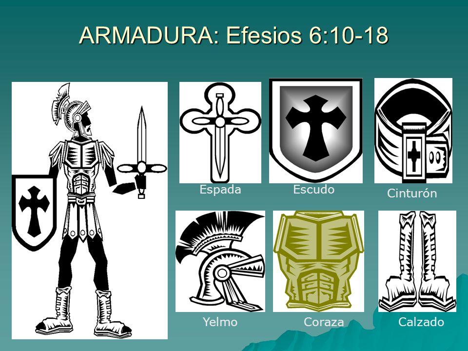 ARMADURA: Efesios 6:10-18 EspadaEscudo Cinturón YelmoCorazaCalzado