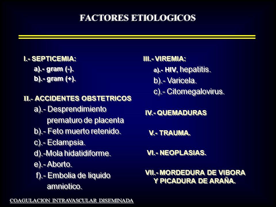 DIAGNOSTICO 2.- EVIDENCIA CLINICA DE TROMBOSIS, HEMORRAGIA O DE AMBAS : 1- Disfunción orgánica.