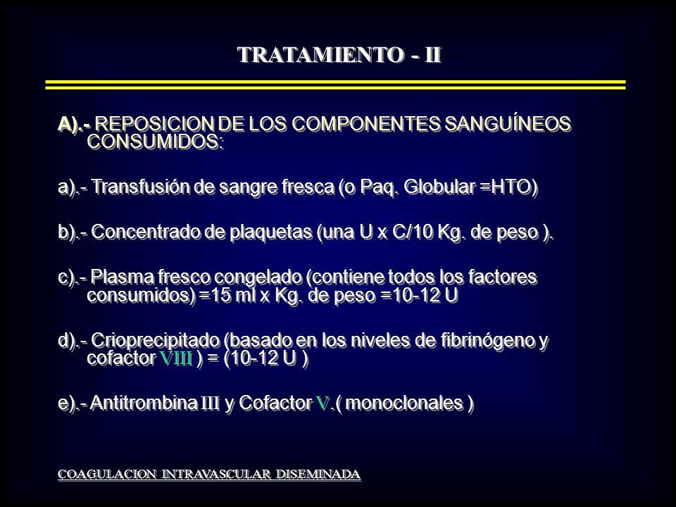 TRATAMIENTO - II A).- REPOSICION DE LOS COMPONENTES SANGUÍNEOS CONSUMIDOS: a).- Transfusión de sangre fresca (o Paq.