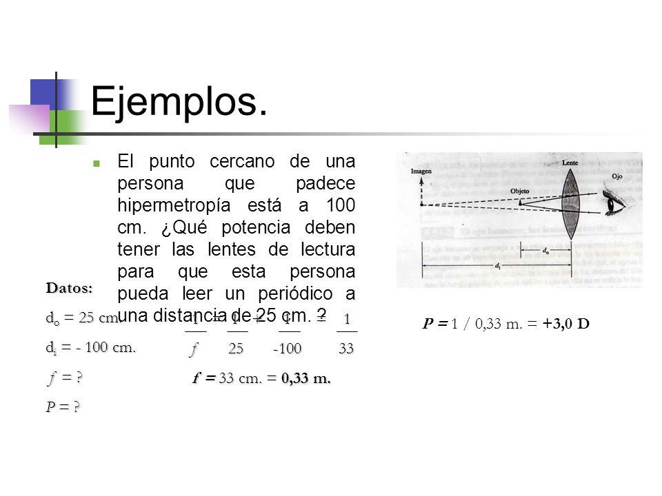 Ejemplos.El punto cercano de una persona que padece hipermetropía está a 100 cm.