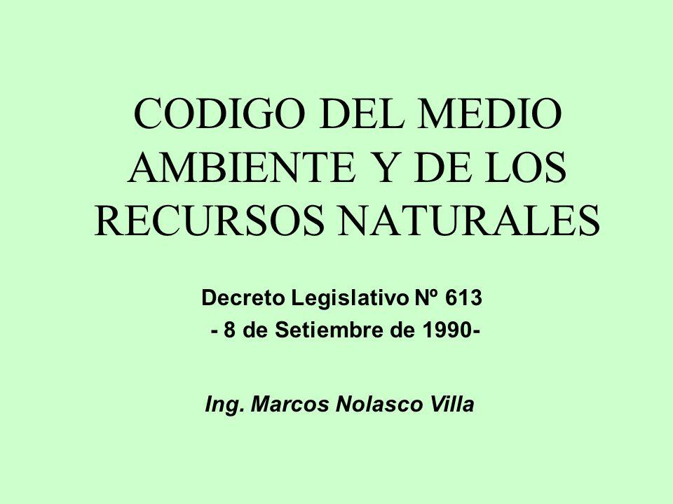 CODIGO DEL MEDIO AMBIENTE Y DE LOS RECURSOS NATURALES Decreto Legislativo Nº 613 - 8 de Setiembre de 1990- Ing. Marcos Nolasco Villa