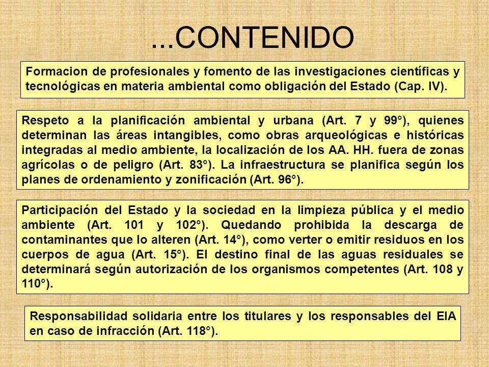 ...CONTENIDO Formacion de profesionales y fomento de las investigaciones científicas y tecnológicas en materia ambiental como obligación del Estado (C