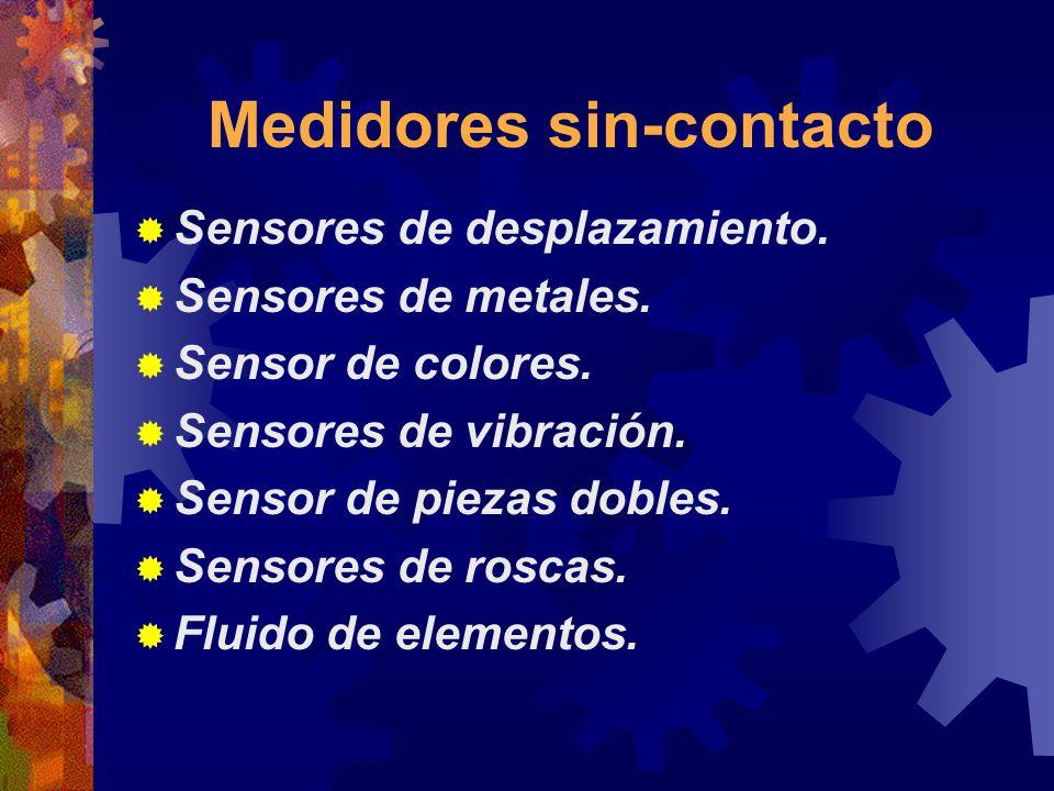 Medidores sin-contacto Sensores de desplazamiento. Sensores de metales. Sensor de colores. Sensores de vibración. Sensor de piezas dobles. Sensores de