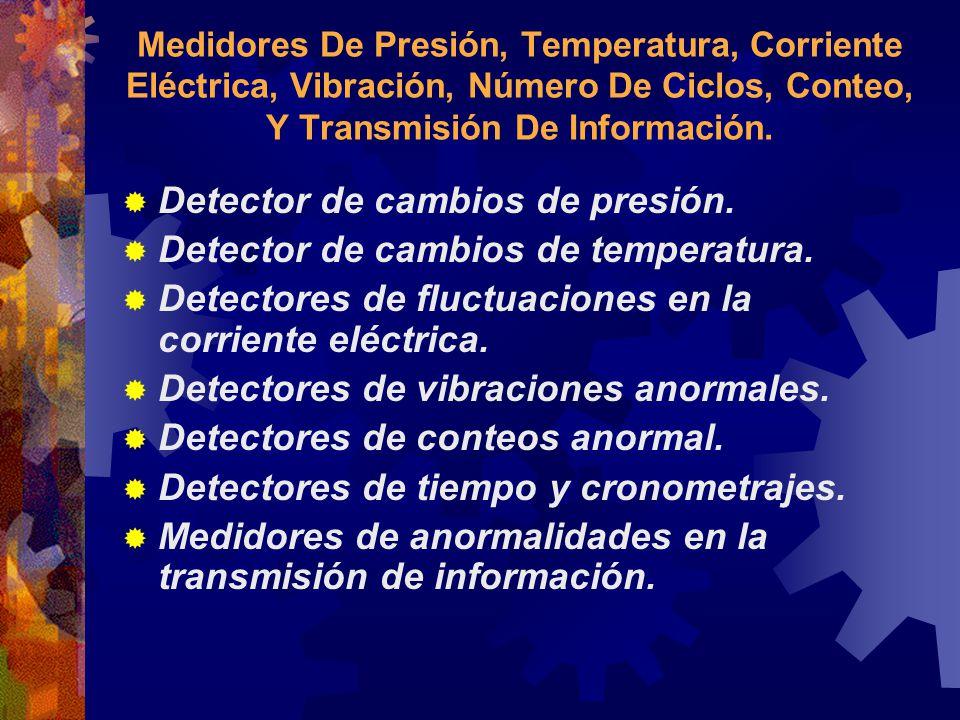 Medidores De Presión, Temperatura, Corriente Eléctrica, Vibración, Número De Ciclos, Conteo, Y Transmisión De Información. Detector de cambios de pres