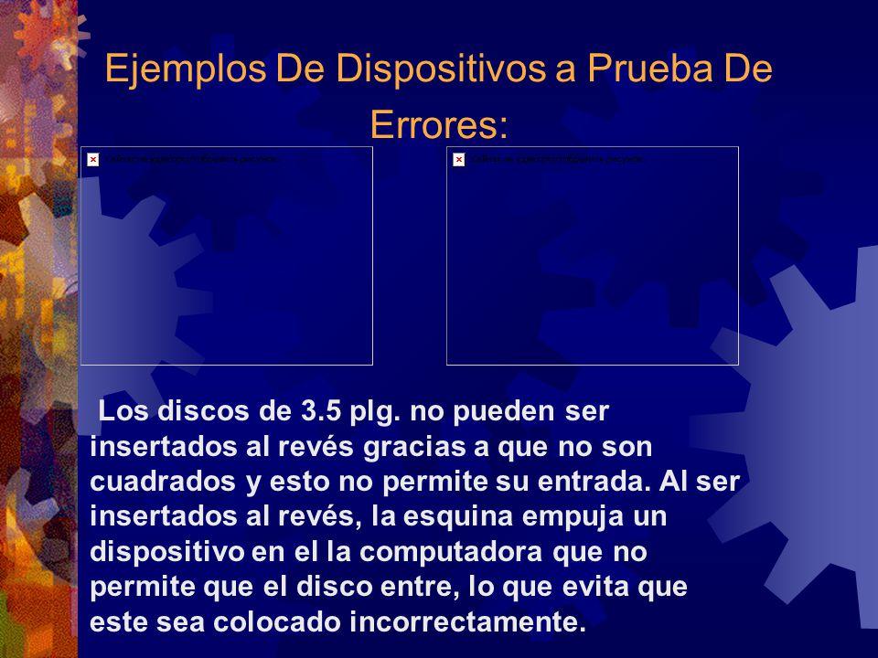 Ejemplos De Dispositivos a Prueba De Errores: Los discos de 3.5 plg. no pueden ser insertados al revés gracias a que no son cuadrados y esto no permit