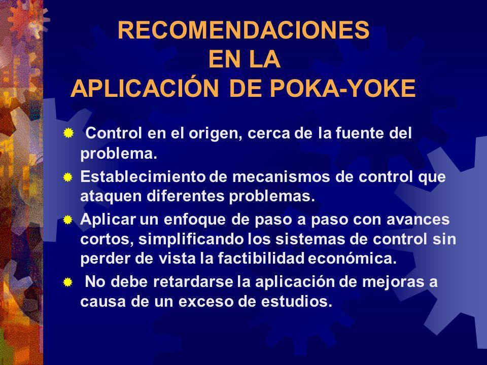 RECOMENDACIONES EN LA APLICACIÓN DE POKA-YOKE Control en el origen, cerca de la fuente del problema. Establecimiento de mecanismos de control que ataq