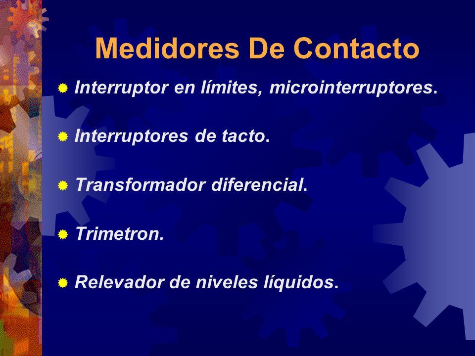 Medidores De Contacto Interruptor en límites, microinterruptores. Interruptores de tacto. Transformador diferencial. Trimetron. Relevador de niveles l