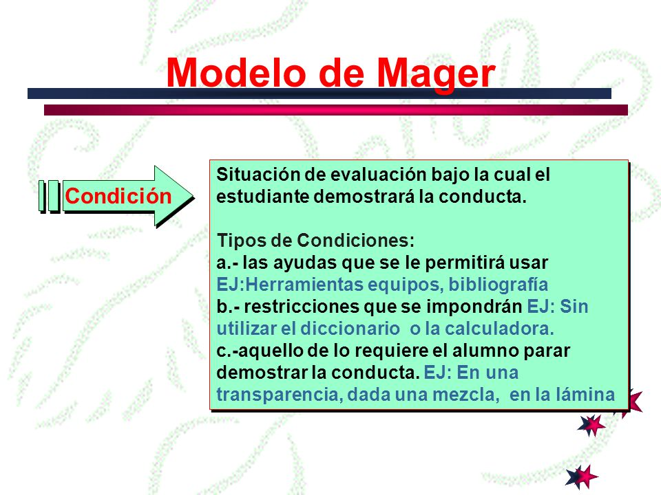 Modelo de Mager Conducta Son verbos de acción que muestran la conducta que mostrará el estudiante después de alcanzar el objetivo Tipos de conducta: a.- Visible, audible observada directamente EJ: Ensamblar, Medir, Determinar, Generar b.- cubierta no puede ser observada directamente.