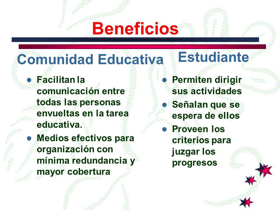 Estudiante Comunidad Educativa Beneficios Facilitan la comunicación entre todas las personas envueltas en la tarea educativa.