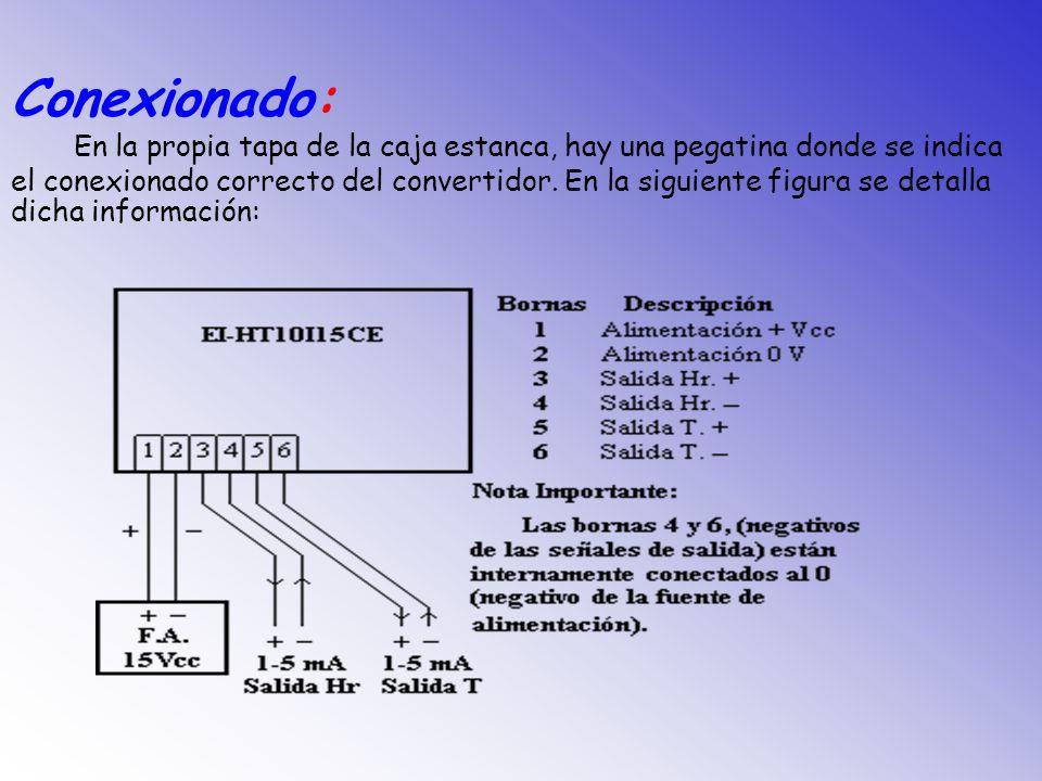 Descripción: El convertidor EI-HT10I15CE, es un convertidor de humedad + temperatura hubicado en una caja estanca de protección IP-56.