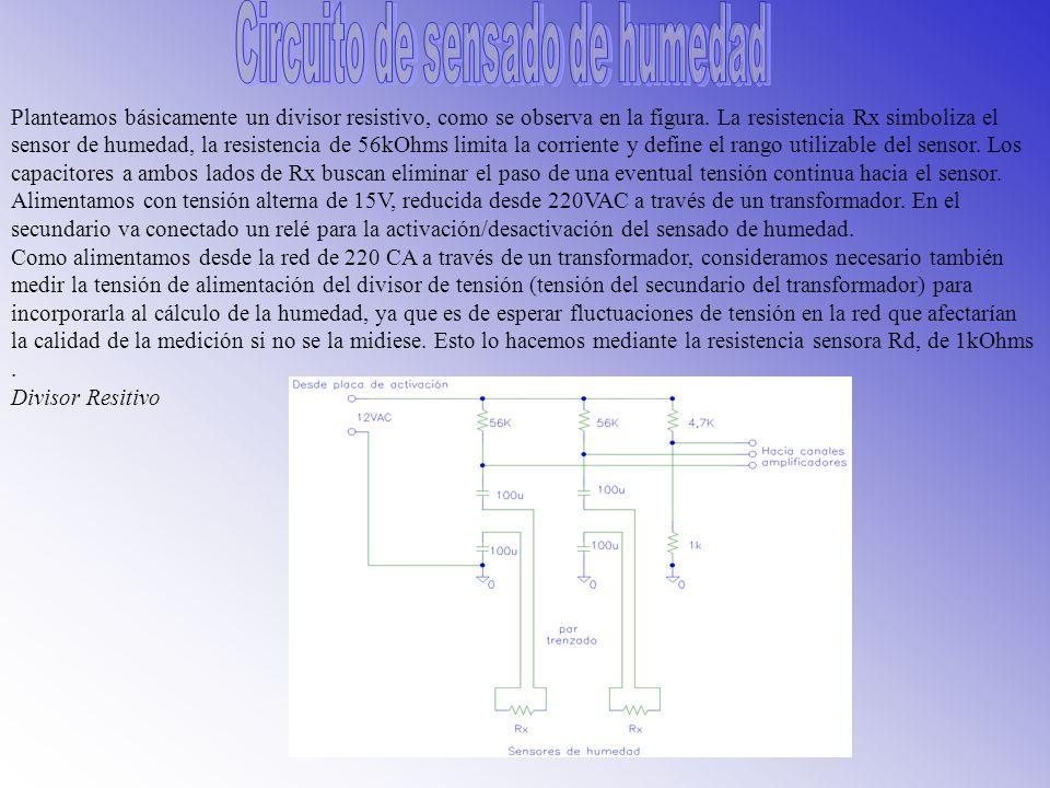 Del fabricante obtuvimos la siguiente información y sugerencias para el diseño del circuito excitador del sensor: Tabla de conversión entre valores de resistencia y presión de succión para el rango de 0- 200 centibars (550-28000 Ohms ).