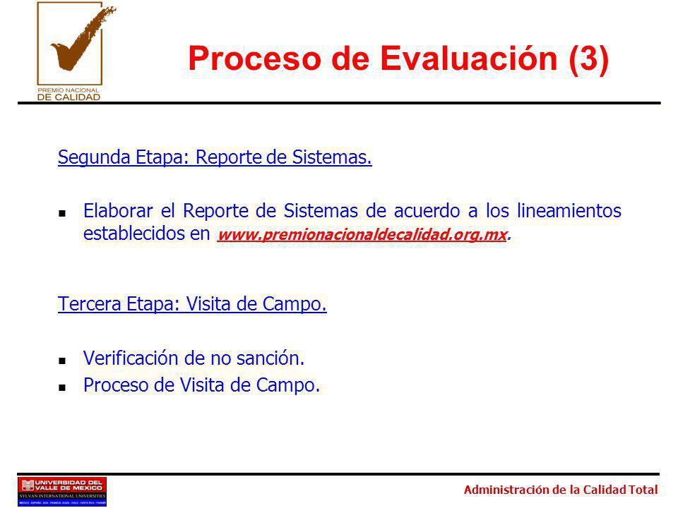 Administración de la Calidad Total Proceso de Evaluación (3) Segunda Etapa: Reporte de Sistemas. Elaborar el Reporte de Sistemas de acuerdo a los line