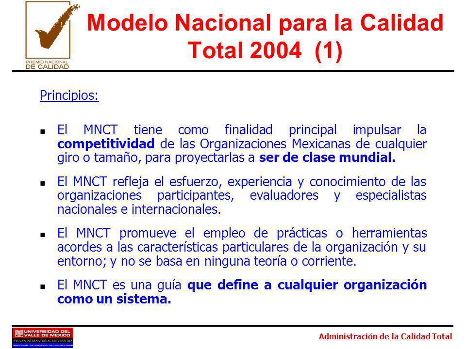 Administración de la Calidad Total Modelo Nacional para la Calidad Total 2004 (1) Principios: El MNCT tiene como finalidad principal impulsar la competitividad de las Organizaciones Mexicanas de cualquier giro o tamaño, para proyectarlas a ser de clase mundial.