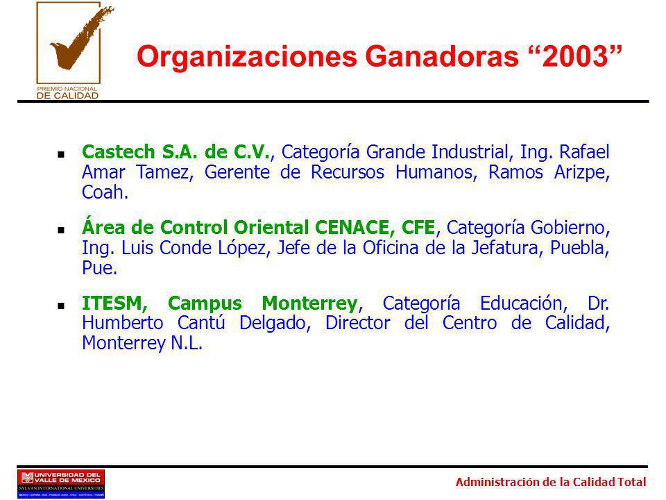 Administración de la Calidad Total Organizaciones Ganadoras 2003 Castech S.A. de C.V., Categoría Grande Industrial, Ing. Rafael Amar Tamez, Gerente de