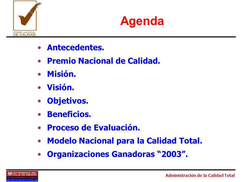 Administración de la Calidad Total Agenda Antecedentes. Premio Nacional de Calidad. Misión. Visión. Objetivos. Beneficios. Proceso de Evaluación. Mode