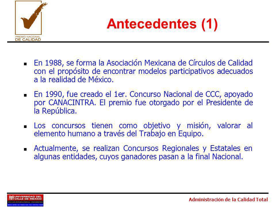 Administración de la Calidad Total Antecedentes (1) En 1988, se forma la Asociación Mexicana de Círculos de Calidad con el propósito de encontrar modelos participativos adecuados a la realidad de México.