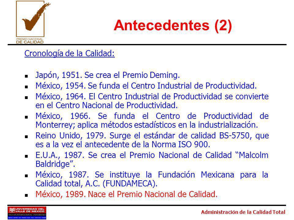 Administración de la Calidad Total Antecedentes (2) Cronología de la Calidad: Japón, 1951. Se crea el Premio Deming. México, 1954. Se funda el Centro