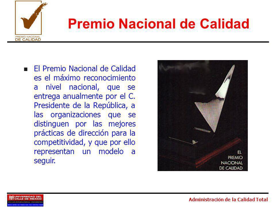 Administración de la Calidad Total n El Premio Nacional de Calidad es el máximo reconocimiento a nivel nacional, que se entrega anualmente por el C. P