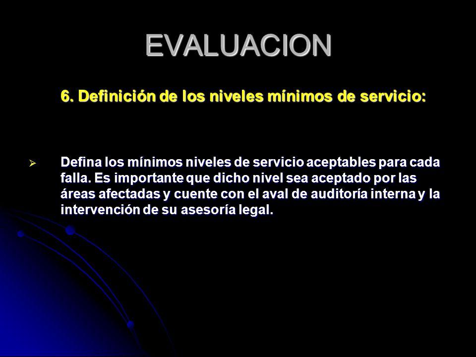 EVALUACION 6. Definición de los niveles mínimos de servicio: Defina los mínimos niveles de servicio aceptables para cada falla. Es importante que dich