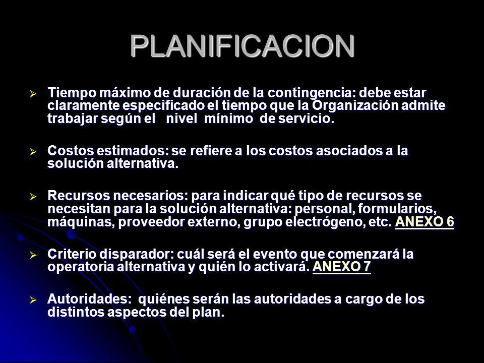 PLANIFICACION Tiempo máximo de duración de la contingencia: debe estar claramente especificado el tiempo que la Organización admite trabajar según el nivel mínimo de servicio.