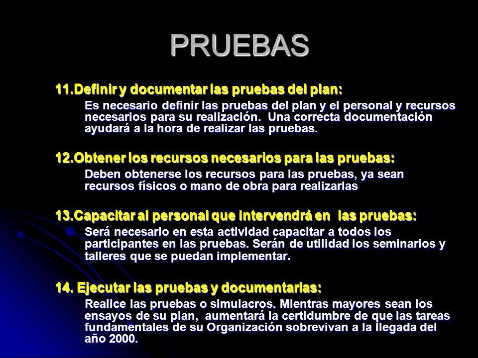 PRUEBAS 11.Definir y documentar las pruebas del plan: Es necesario definir las pruebas del plan y el personal y recursos necesarios para su realización.