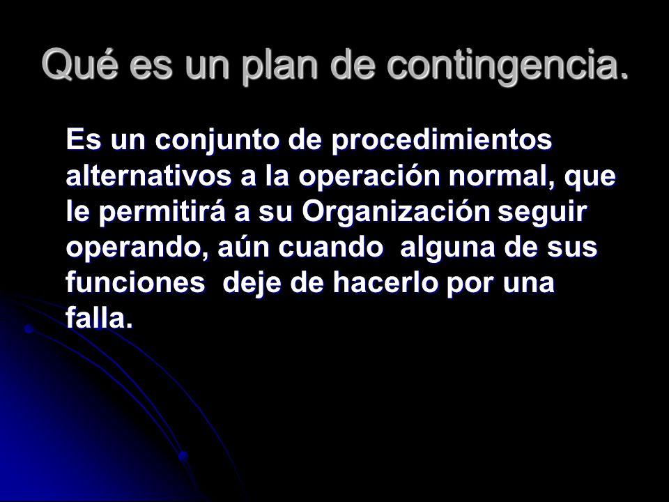 Qué es un plan de contingencia. Es un conjunto de procedimientos alternativos a la operación normal, que le permitirá a su Organización seguir operand